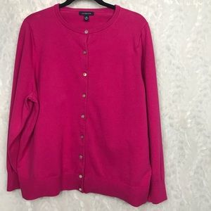 Lands End hot pink button down cardigan sweater 2x